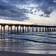 Pier In The Evening Poster by Sandy Keeton