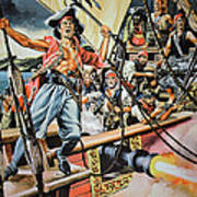 Pirates Preparing To Board A Victim Vessel  Poster by American School