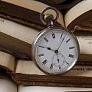 Pocket Watch On Pile Of Books Poster by Garry Gay