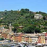 Portofino Hillside Poster by Corinne Rhode