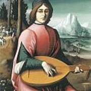 Portrait Of A Young Man With A Lute Poster by Bachiacca