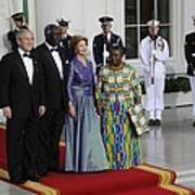 President And Laura Bush Welcome Ghanas Poster by Everett