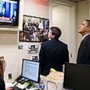 President Barack Obama Watches Msnbc Poster by Everett