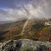 Rainbow Over Rough Ridge - Nc Autumn Scene Poster by Rob Travis