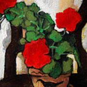 Red Geranium Poster by Mona Edulesco