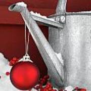 Red Ornament On Watering Can Poster by Sandra Cunningham