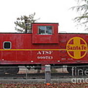 Red Sante Fe Caboose Train . 7d10328 Poster by Wingsdomain Art and Photography