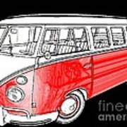 Red Volkswagen Poster by Cheryl Young