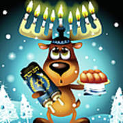 Reindeer With Menorah For Antlers Poster by New Vision Technologies Inc
