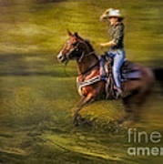 Riding Thru The Meadow Poster by Susan Candelario