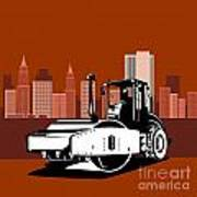 Road Roller  Retro  Poster by Aloysius Patrimonio