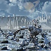 Robots Gathering Rich Mineral Deposits Poster by Mark Stevenson