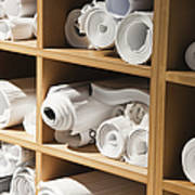 Rolls Of Blueprints In Cubbyholes Poster by Jetta Productions, Inc