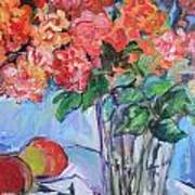 Roses And Peaches Poster by Carol Mangano