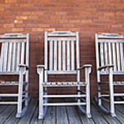 Row Of Rocking Chairs Poster by Skip Nall