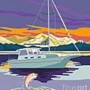Sailboat Retro Poster by Aloysius Patrimonio