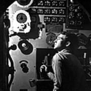 Sailor At Work In The Electric Engine Poster by Stocktrek Images