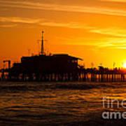 Santa Monica Pier Sunset Poster by Paul Velgos