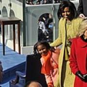 Sasha Obama Peeks Around Her Mother Poster by Everett