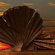 Scallop Sunrise At Aldeburgh Poster by Darren Burroughs