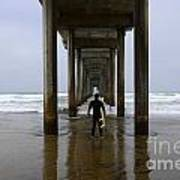 Scripps Pier Surfer 3 Poster by Bob Christopher
