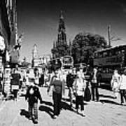 Shoppers And Tourists On Princes Street Edinburgh Scotland Uk United Kingdom Poster by Joe Fox