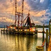 Shrimp Boat At Sunset Poster by Debra and Dave Vanderlaan