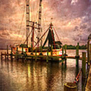 Shrimp Boat At Sunset II Poster by Debra and Dave Vanderlaan