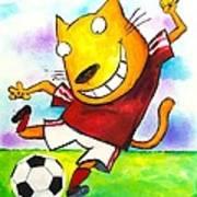 Soccer Cat Poster by Scott Nelson