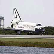 Space Shuttle Discovery On The Runway Poster by Stocktrek Images