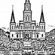 St Louis Cathedral On Jackson Square In The French Quarter New Orleans Photocopy Digital Art Poster by Shawn O'Brien