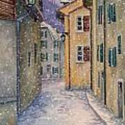 St Ursanne In Snow Poster by Scott Nelson