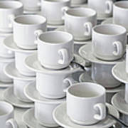 Stacks Of Cups And Saucers Poster by Tobias Titz