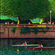 Stanley Park Scullers Poster Poster by Neil Woodward