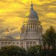 Statehouse At Sunset Poster by Jerri Moon Cantone