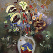 Still Life Of A Vase Of Flowers Poster by Odilon Redon