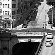 Stockton Street Tunnel Midday Late Summer In San Francisco . Black And White Photograph 7d7499 Poster by Wingsdomain Art and Photography