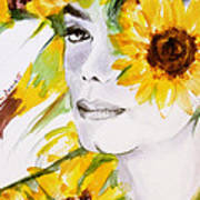 Sunflower Close-up Poster by Hitomi Osanai