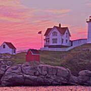 Sunrise Nubble Lighthouse Poster by Dale J Martin