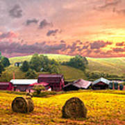Sunrise Pastures Poster by Debra and Dave Vanderlaan