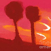 Sunset Abstract Trees Poster by Pixel Chimp