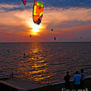 Sunset Kiteboarding On The Pamlico Sound Poster by Anne Kitzman