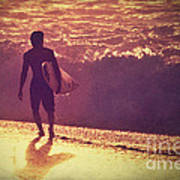 Surfer At Sunset Poster by Paul Topp