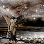 Surreal Fantasy Celestial Angel With Stars Poster by Kathy Fornal