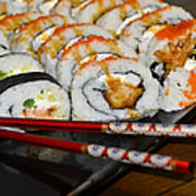 Sushi And Chopsticks Poster by Carolyn Marshall