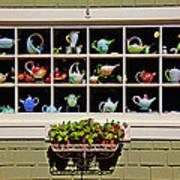Tea Pots In Window Poster by Garry Gay