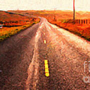 The Long Road Home . Painterly Style . Wide Size Poster by Wingsdomain Art and Photography