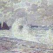 The Sea During Equinox Boulogne-sur-mer Poster by Theo van Rysselberghe