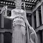 The Statue Of Athena Bw Poster by Linda Phelps
