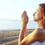 Thoughtful Woman Meditating Poster by Cristina Pedrazzini